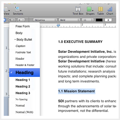 Table Of Contents Iwork Pages Perfect Little Business Plan
